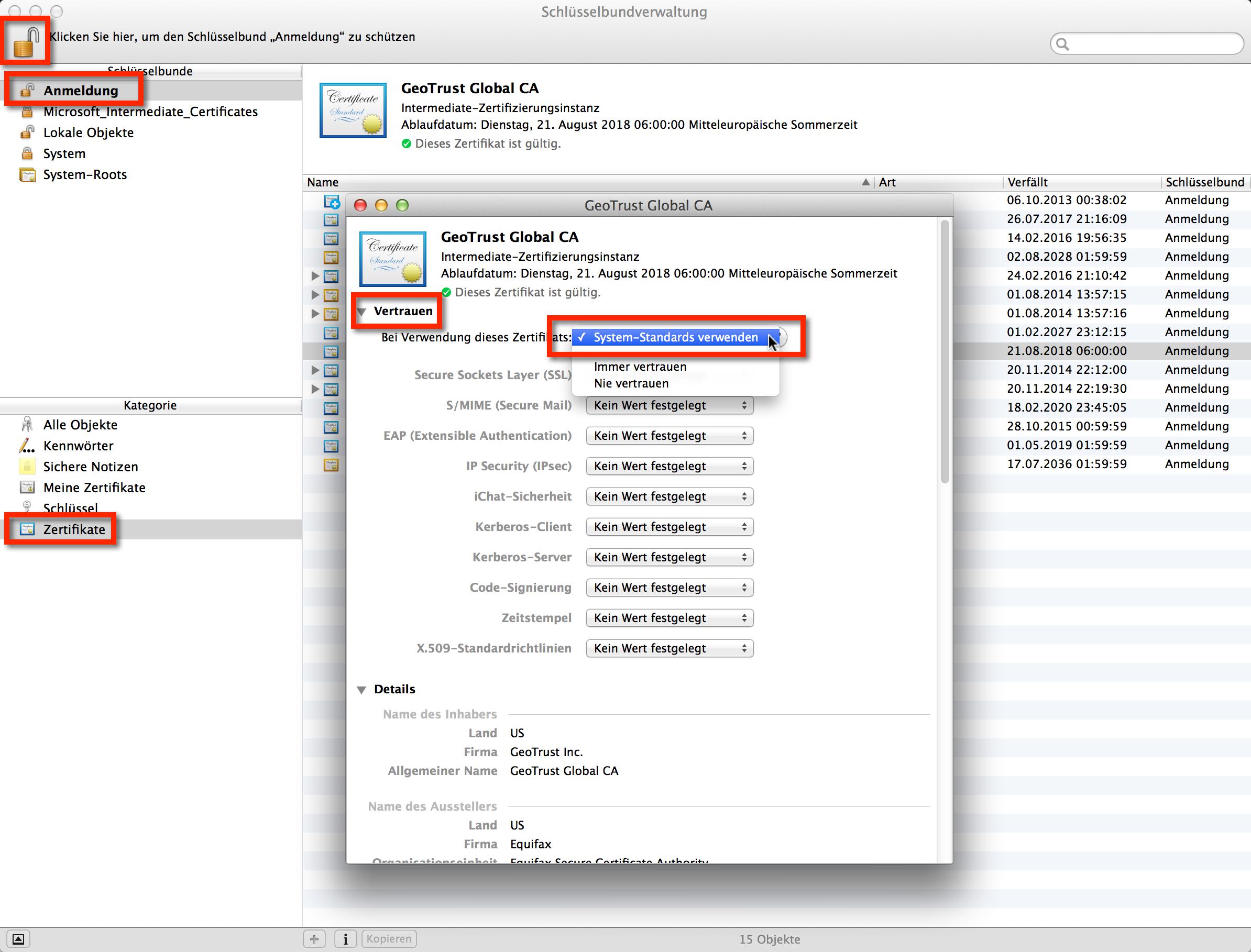 Selbstsignierte Zertifikate in Mac OS X immer vertrauen. Bitte macht das nur bei Zertifikaten bei denen Ihr Euch sicher seid