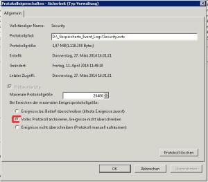 Diese Option müsst ihr wählen, damit ihr das Event Log archivieren könnt.