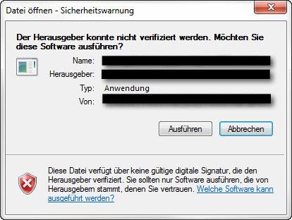 Der Herausgeber konnte nicht verifiziert werden. Möchten Sie diese Software ausführen?