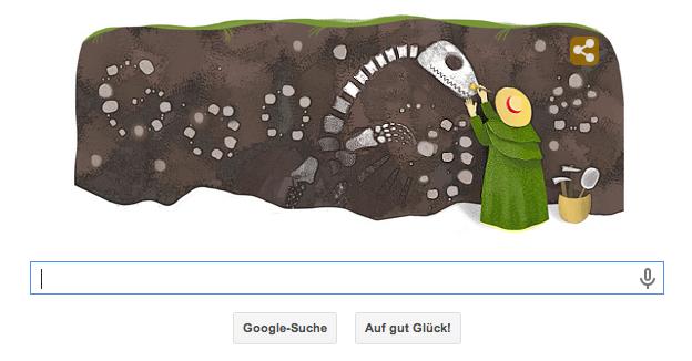 Ein schöner Google Doodle zu Mary Annings 215. Geburtstag. Sie war eine der ersten Paläontologinnen und wird deshalb mit diesem Doodle geehrt