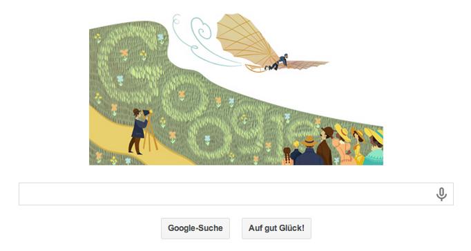 Google Doodle Otto Lilienthal - Der Herr der Lüfte Otto Lilienthal wird 166 Jahre alt