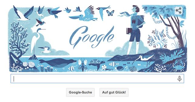 Google Doodle Rachel Louise Carson 107. Geburtstag (27.05.2014) - Die umweltpolitisch engagierte Schriftstellerin verhinderte so maches ökoweltliche Desaster!