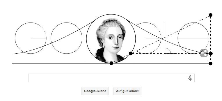 Google Doodle zu Maria Gaetana Agnesis 296. Geburtstag am 16. Mai 2014