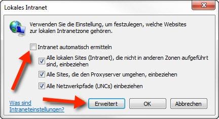 """Korrekte Einstellungen im Fenster """"Lokales Intranet"""" welches über den Button """"Sites"""" aufgerufen werden kann."""