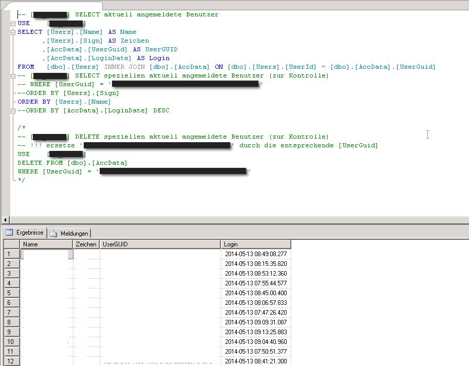 Problemlösung zu cobra Mehrfachanmeldung mit Hilfe einer Datenbankabfrage und des Löschens eines doppelten Users aus der Datenbank