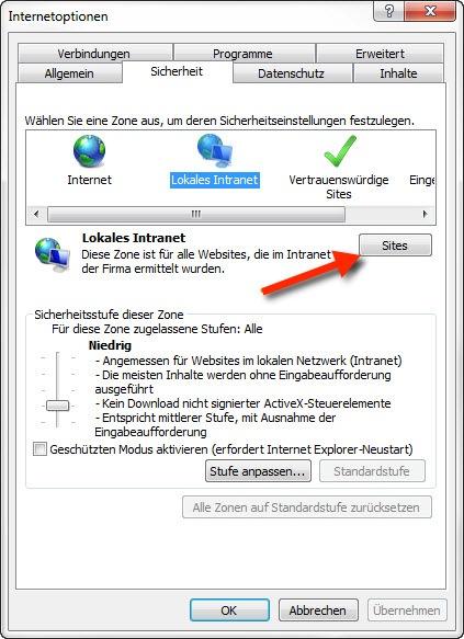 Sicherheitswarnung beim Öffnen vom Netzlaufwerk - Der erste Schritt um die Sicherheitseinstellungen für das lokale Intranet zu konfigurieren