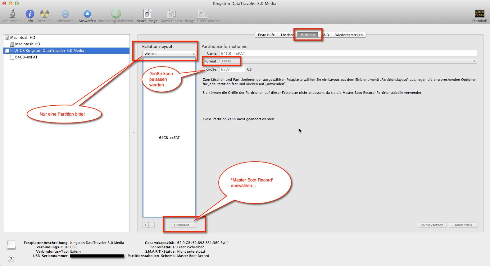 USB-Stick Windows und OS X Apple nutzen, hier im Festplattendienstprogramm kann man alles notwendige dafür einrichten