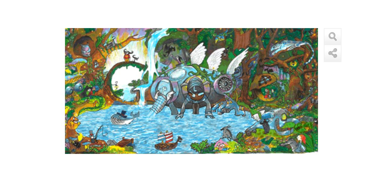 Doodle 4 Google USA 2014 - Sieger Audrey Zhang mit ihrer Maschine, die verschmutzes Wasser in ein für Menschen bekömmliches und gesundes Wasser verwandelt