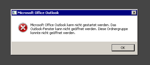 Fehlermeldung Outlook kann nicht gestartet werden - So stellt sich der Fehler dar.