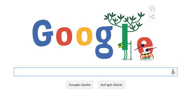 Google Doodle WM 2014 - Einen Tag später wurde das Doodle zur WM2014 verändert.