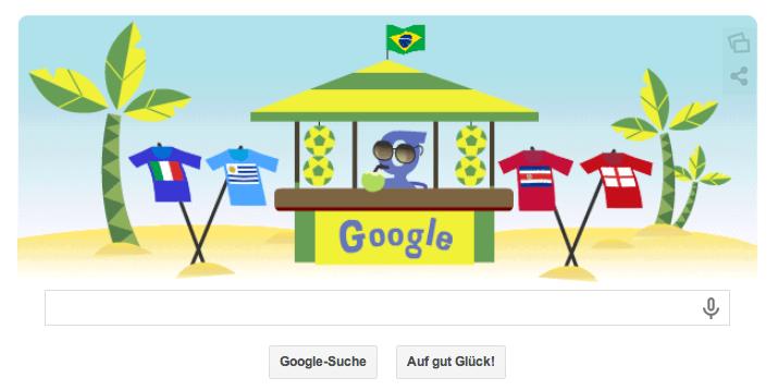 Google Doodle zur WM 2014 in Brasilien vom 24.06.2014 - Die Fahnen deuten auf die zwei anstehenden Partien um 18 Uhr hin