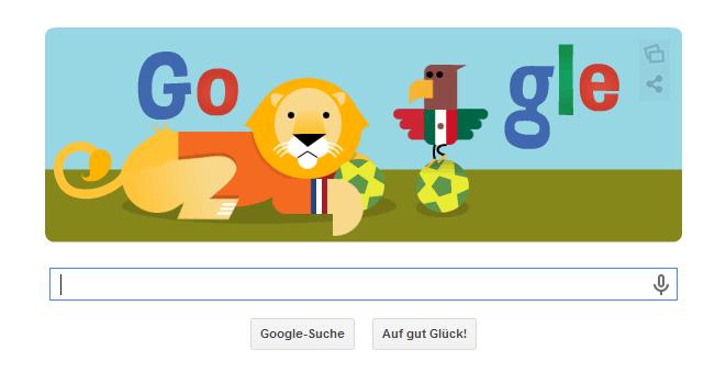 Google Doodle zur WM 2014 in Brasilien vom 29.06.2014 Abends. Das Doodle zeigt das Spiel Niederlande gegen Mexiko
