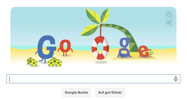 Google Doodle zur WM 2014 vom 30.06.2014 morgens. Heute Abend findet das Achtelfinalspiel Deutschland gegen Algerien statt