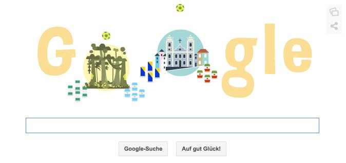 WM 2014 Google Doodle über Mannschaften die heute Abend am 25.06.2014 ihre Spiele haben
