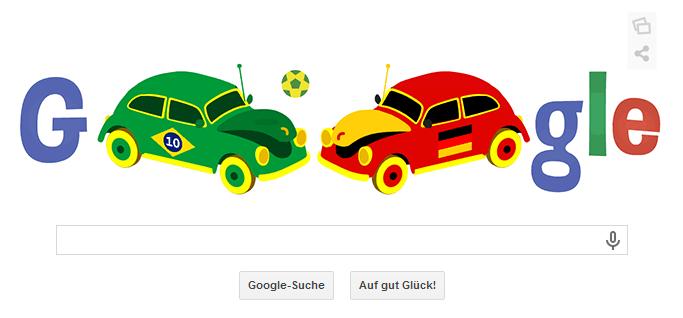 WM 2014 Google Doodle vom 08.07.2014 für das Halbfinalspiel Brasilien gegen Deutschland um 22 Uhr