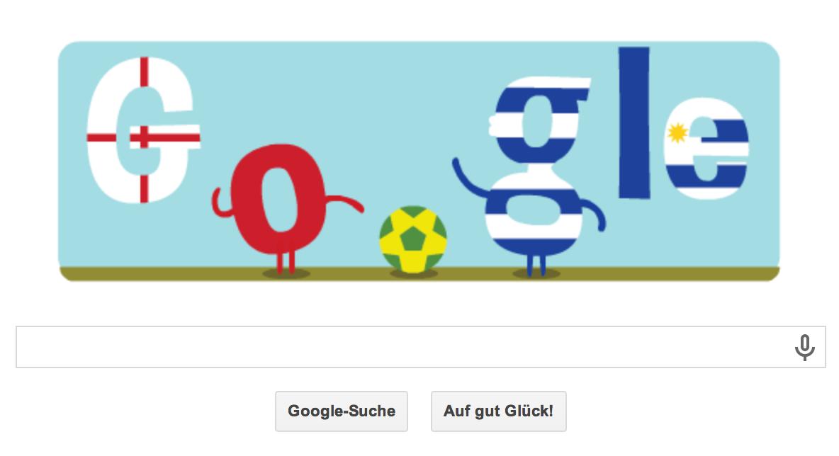 WM 2014 Google Doodle vom 18.06.2014 Abends Partie Uruguay gegen England
