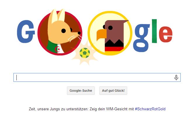 WM 2014 Google Doodle zum Achtelfinalspiel Deutschland gegen Algerien (Stichwort Schande von Gijon)