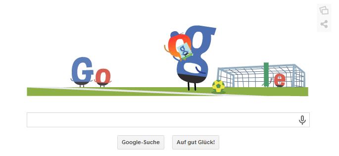 WM 2014 in Brasilien Doodle vom 01.07.2014. Das zweite O möchte ein Autogramm. Das O hüpft dem Unterschreiber vor Freude auf den Arm Teil 3