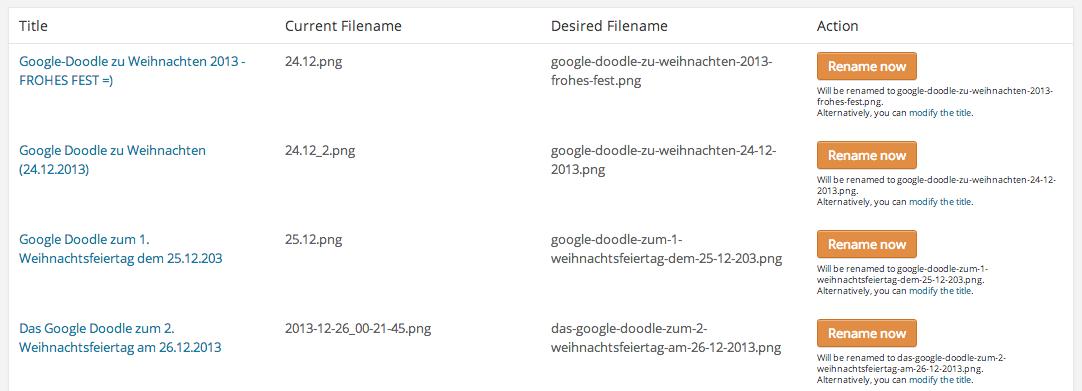 Wordpress Bidler umbenennen mit Hilfe des Plugins Media File Renamer eine Sache von Minuten statt Tagen