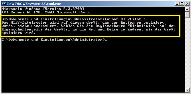 USB Festplatte in NTFS formatieren funktioniert nicht. Hier der Versuch ueber die CMD mit dem Befehl FORMAT