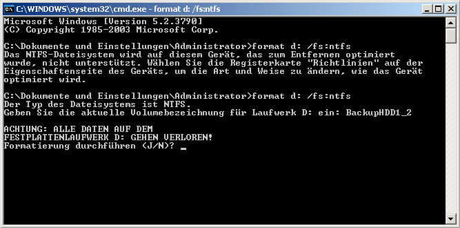 USB Festplatte in NTFS formatieren funktioniert nicht. Nach umstellen der Richtlinie auf optimierte Leistung kann man die Platte wieder formatieren