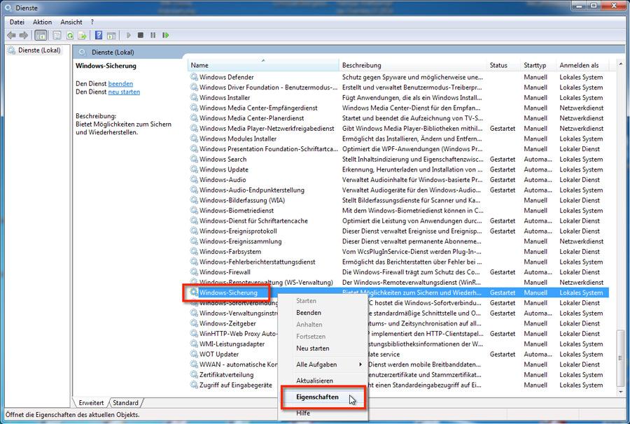 Windows 7 Datensicherung deaktivieren oder Backup ausschalten geht in den Diensten