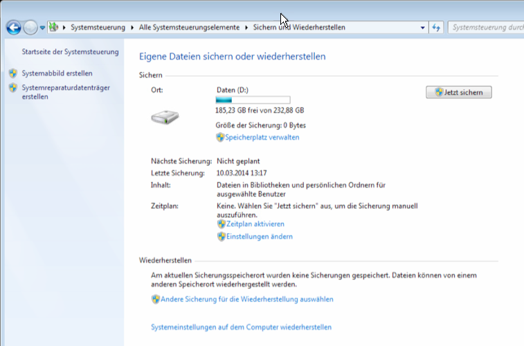 Windows 7 Datensicherung deaktivieren oder Backup ausschalten