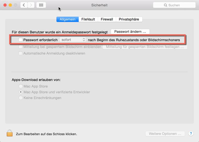 Automatische Abmeldung OS X deaktivieren - Wen das Anmeldepasswort beim Bildschirmschoner nervt kann es hier deaktivieren