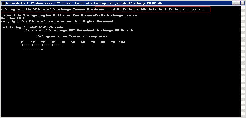 Exchange Datenbank verkleinern, komprimieren oder defragmentieren (eseutil)