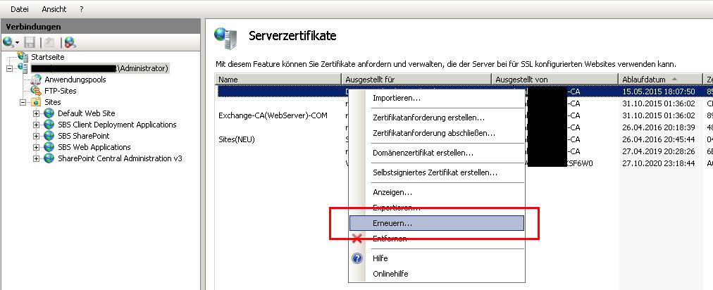 Exchange Server Zertifikat abgelaufen mit der Fehlermeldung in Outlook - Hier das Fenster Serverzertifikate mit Kontektmenü
