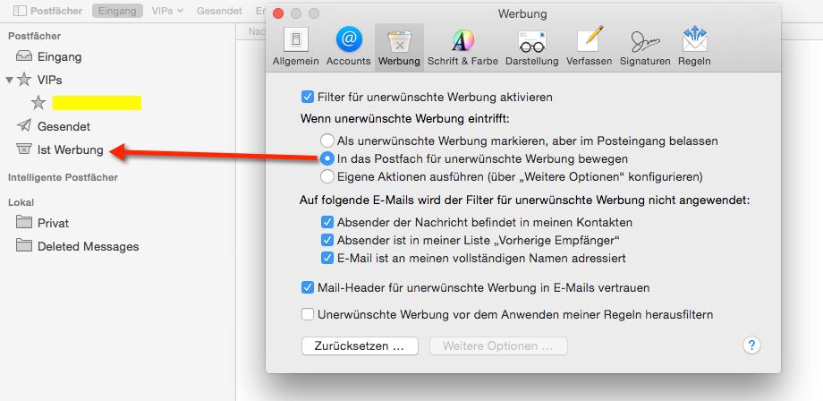 Mac Mail Spamfilter aktivieren - Nervige Mails in den Spamordner verschieben