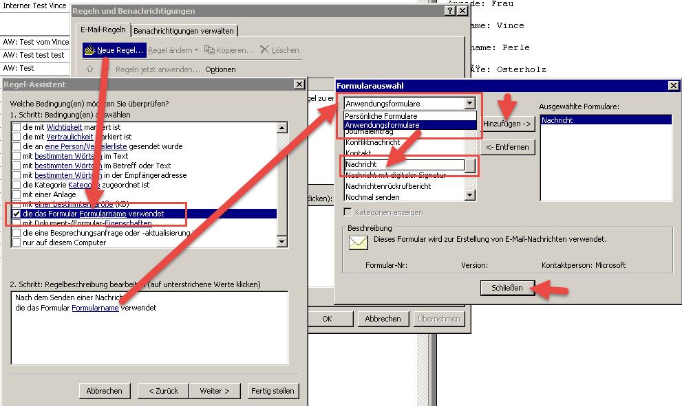 Outlook gesendete Objekte in IMAP-Ordner speichern - Hier wählen wir das korrekte Formular aus