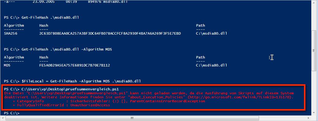 PowerShell Skript-Ausführung deaktiviert