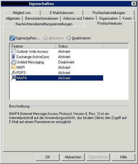 IMAP Exchange 2007 einrichten - Dem einzelnen User bzw. dessen Postfach kann IMAP freigegeben oder gesperrt werden