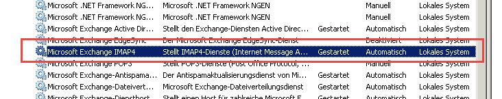 IMAP Exchange 2007 einrichten - Hier seht Ihr den Dienst, der gestartet und auf automatisch gestellt werden muss...