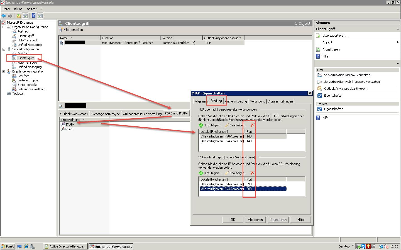 IMAP Exchange 2007 einrichten - Hier seht Ihr in Exchange 2007 wo Ihr zunächst hinnavigieren müsst!
