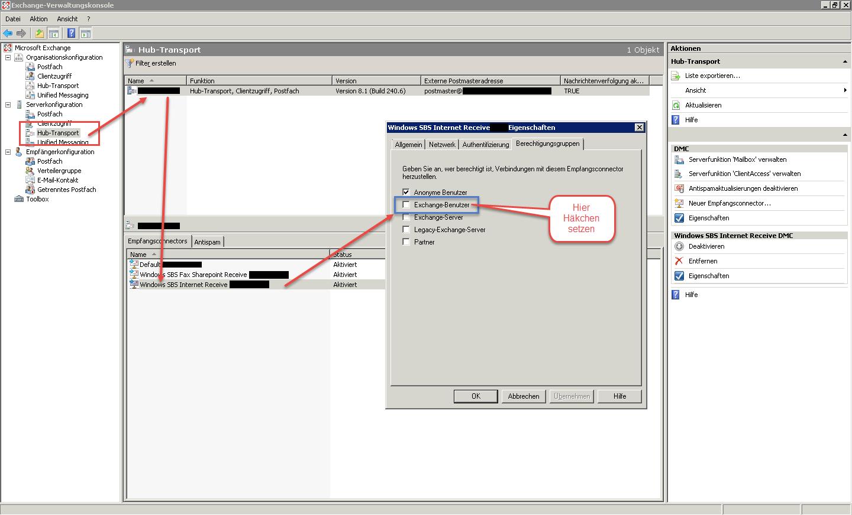 IMAP Exchange 2007 einrichten - Unter Serverkonfiguration Hubtransport muss die Berechtigungsgruppe Exchange Benutzer angehakt werden