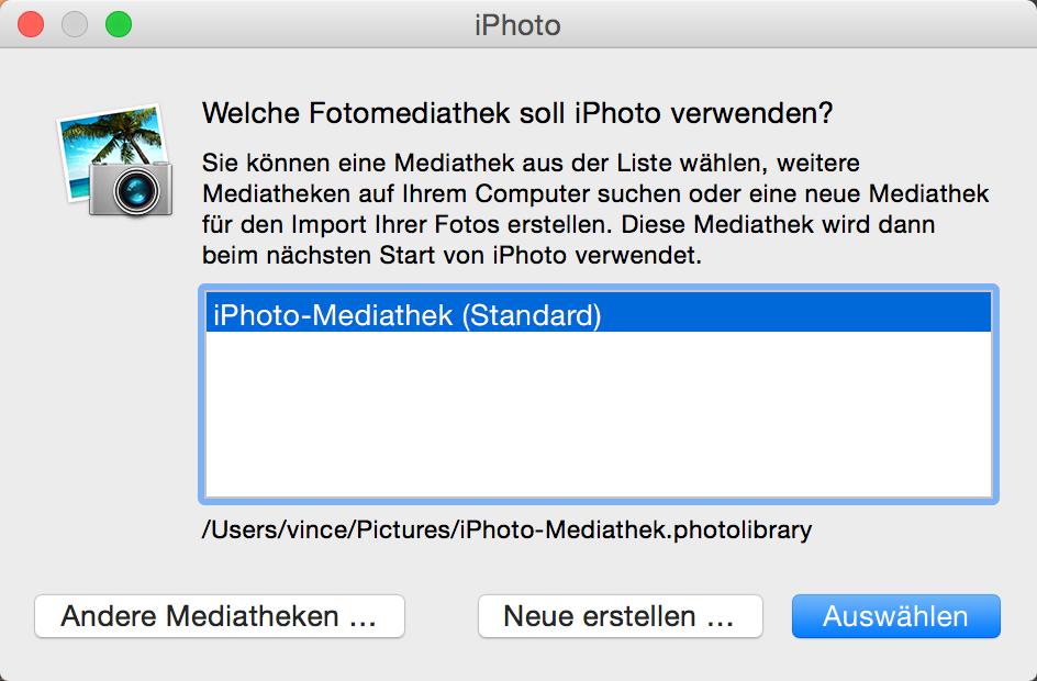 iPhoto Mediathek zu groß - Hier zeige ich Euch wie Ihr iPhoto mit den Optionen startet