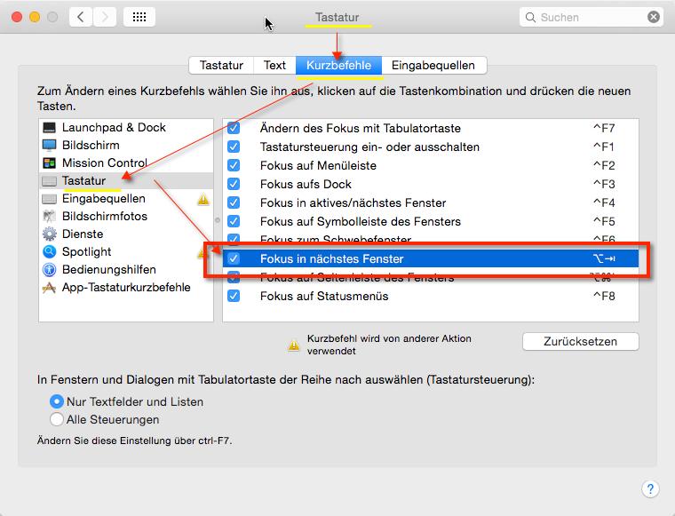 OS X Browser Switch Tastenkombination. Hier seht Ihr wo genau die Einstellung in OS X versteckt ist!