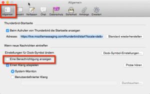 Thunderbird E-Mail Benachrichtigung abschalten - Hier siehst du die Optionen von Thunderbird, Registerkarte Allgemein in Mac OS X