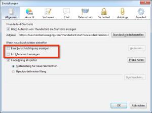 Thunderbird E-Mail Benachrichtigung abschalten - Hier siehst du die Optionen von Thunderbird, Registerkarte Allgemein in Windows