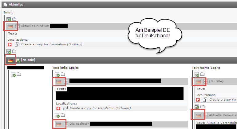 Typo3 default language flag DE einstellen. Hier seht Ihr, dass die Flaggen nach einbinden des TypoScript korrekt angezeigt werden