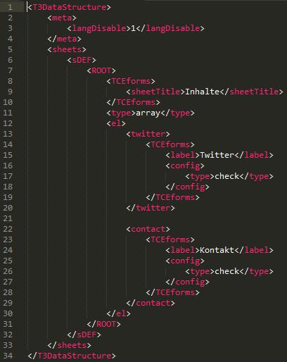 Typo3 Flexforms konfigurieren - So kann dabei eine XML-Struktur aussehen!