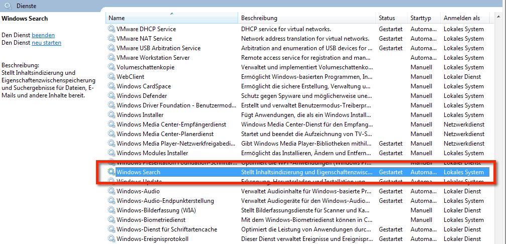 Windows Suche funktioniert nicht. Hier siehst du, wie der Suchdienst in den Windows Diensten genannt wird. Windows Search