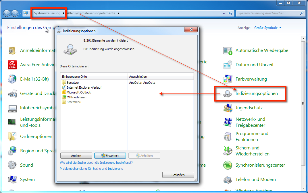 Windows Suche funktioniert nicht. Hier siehst du, wo du die Indizierungsoptionen findest. In der Windows Systemsteuerung