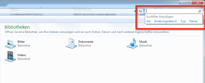 Windows Suche funktioniert nicht. So sieht die Suche in Windows 7 aus