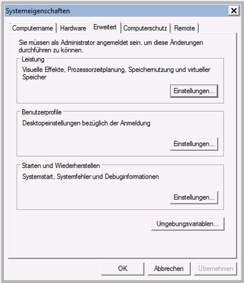 Dropbox Alternative Seafile Server einrichten - So gelangen wir an die Umgebungsvariablen