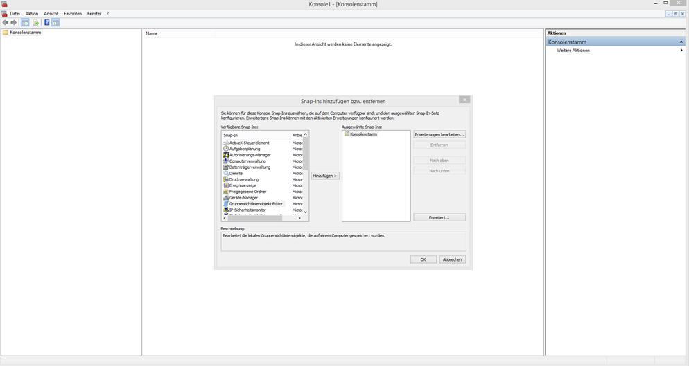 Windows vor Veränderungen schützen - Hier sehen wir die MMC mit geöffnetem Snap-In hinzufuegen-Fenster