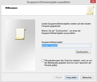 """Windows vor Veränderungen schützen - In diesem Fenster bitte auf """"durchsuchen"""" klicken!"""