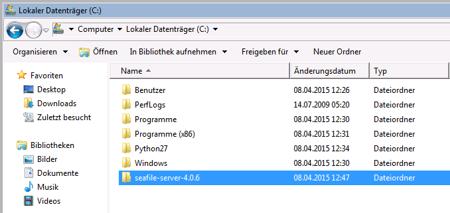 Dropbox Alternative Seafile Server einrichten - Entpacke den Seafile Server nach C oder wohin du magst